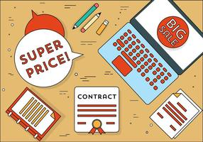 Éléments et icônes de bureau gratuits de design plat