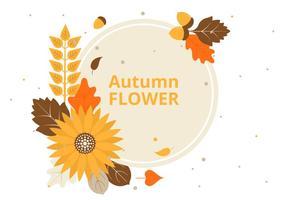 Free Flat Design Vector Autumn Greeting Card