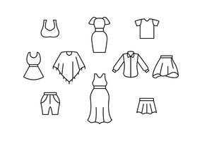 Vettore libero dell'icona della linea dei vestiti della donna