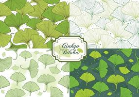 Set Of Ginkgo Biloba Seamless Pattern