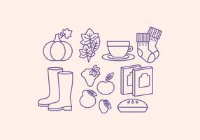 Vector Collection of Outline Fall Icons