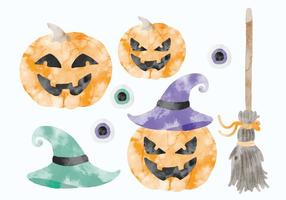 Vector Set of Watercolor Halloween Elements
