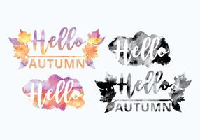 Vector Watercolor Fall Messages