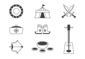 Mongol Tatar Yoke Icons Set vector