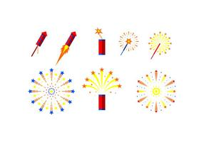 Flat Fireworks Free Vector
