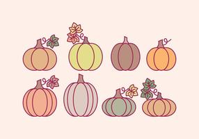 Vector Halloween Outline Pumpkins