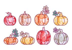 Vector Zucche di Halloween ad acquerello