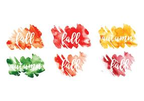 Vector Watercolor Fall Leaf Messages