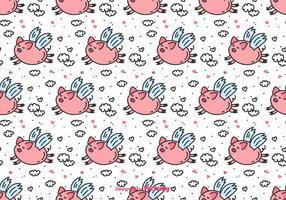 Flying Pig Vector Pattern