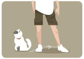 Gato atado sus zapatos vector