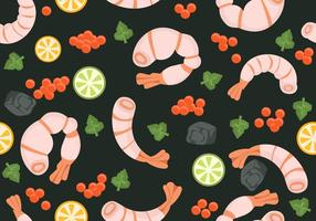 Pattern with Prawns and Seafood Vector