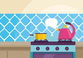 Kettle with Boiling Water Illustration vector