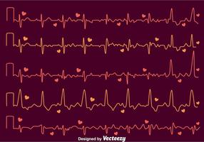 Heart Rhythm On Dark Purple Vector