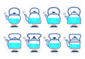 Bouilloires avec des vecteurs d'icônes d'eau bouillante