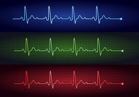 Vecteurs d'électrocardiogramme à impulsions cardiaques