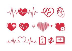 Heartbeats Cardiograma Vector Iconos