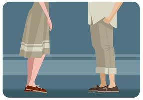 Pareja Con Zapatos Correspondientes Vector