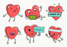 Herz-Rhythmus-Check-up-Spaß-Zeichen-Vektor-Illustration