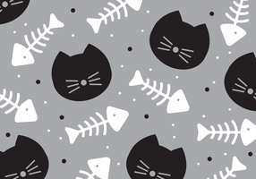 Cat and Fishbone Pattern Vector