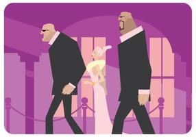 Two Bodyguards And Celebrity Vector