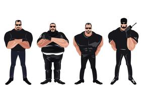 Set of Bouncer with T-shirt and Sunglasses Vectors