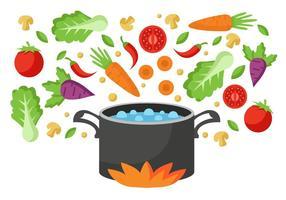Grönsaker går in i kokande vatten Pan Vector
