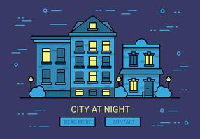 Gratis Lineaire Nacht Cityscape Vector Achtergrond