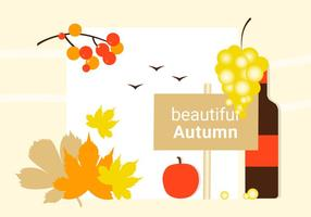 Free Flat Design Vector Autumn Greeting Design