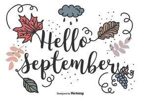 Hola septiembre Vector de fondo