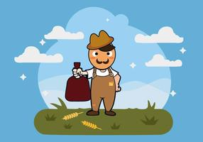 Free Peasant with Bag of Rice Vector