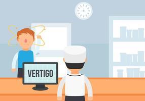 Man Sick with Vertigo Disease Vector