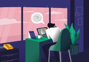 Man Sick with Vertigo While Working vector Illustration