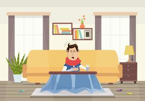 Man Sick with Vertigo Illustration