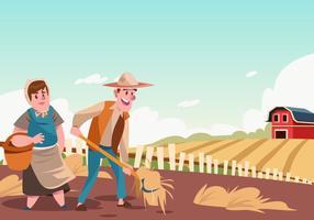 Peasants Spreading Hay Vector