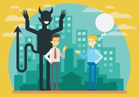 Guy with a Lucifer Shadow Vector Illustration