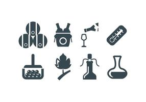 Vinho, vinho, fazendo, vetorial, ícones