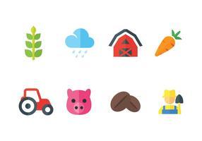 Set di icone vettoriali contadino e agricolo