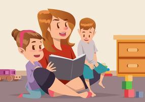 Nanny Met Twee Kleine Kinderen Vector