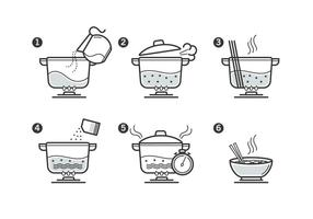 Cooking Instruction Icon Set vector