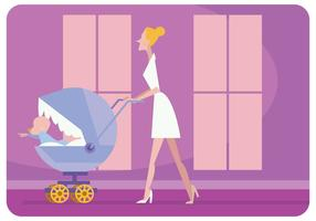 Nanny With Baby Carriage Vector