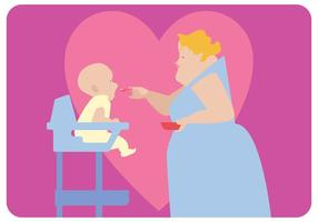 Nanny Feeding Baby Vector