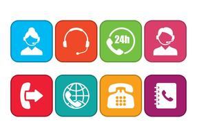 Call Centre Icons Set vector