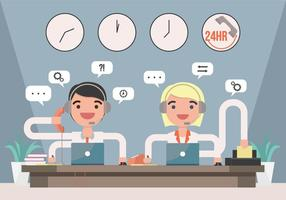 Call Center Man and Woman Illustration Vector