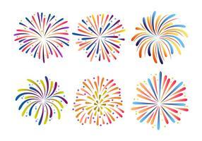 Ilustração colorida do vetor da coleção de fogos de artifício