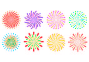 Set Of fireworks In White Background