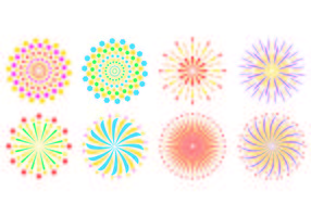 Set Of Fireworks In White Background  vector