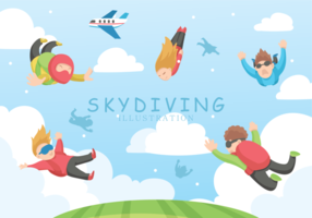 Skydiving Vector Illustration
