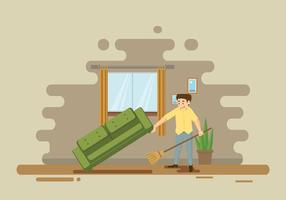 Man Sweeping Floor Illustration