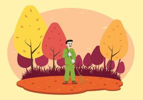 Man Raking De Tuin Illustratie