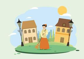 Frau Sweeping Yard Illustration